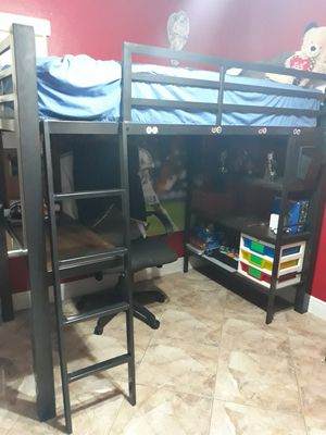 Metal bunk bed with desk for Sale in Fellsmere, FL