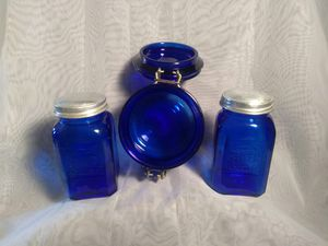 Vintage Cobalt Blue Glass Embossed SALT-N-PEPPER Shakers for Sale in Port Huron, MI