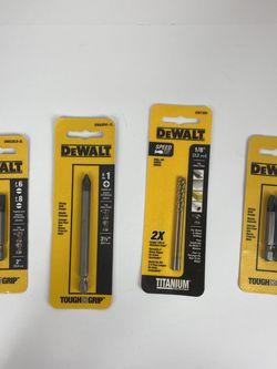 "Lot Of 4 Dewalt Power Bits #6 #8 #1 1/8"" #3 Tough Grip Titanium for Sale in Peoria,  IL"