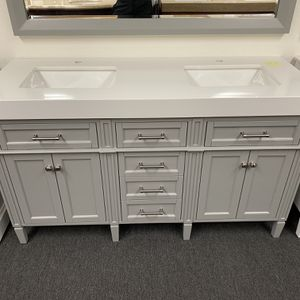 "60"" Grey Double Sink Bathroom Vanity With Solid White Top for Sale in Tustin, CA"