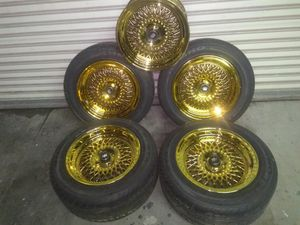 Gold BBS STYLE RIMS 15X8 WITH A 4 X 100 BOLT PATTERN for Sale in San Francisco, CA