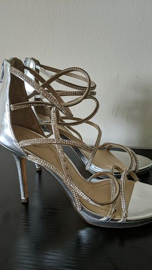 Silver high heels with rhinestone-covered straps for Sale in Washington, DC