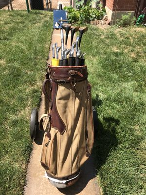 Golf accessories Golf Shoes Butchart Nicholls size 10 1/2 D Vintage Wilson Country Club golf bag and caddy master deluxe golf cart. Complete set of for Sale in Denver, CO