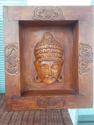 Cool carved wooden Buddha wall art piece for Sale in Dunedin, FL