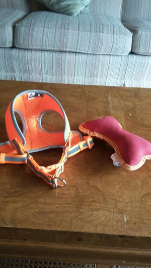 Size medium dog harness and tough toy for Sale in US