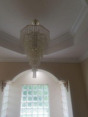Glass beaded 7 teir chandelier with gold beads and trim for Sale in Weston, FL
