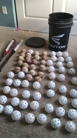 selling baseball bat glove bucket with pad on top and baseballs and waffle balls for 150 for Sale in Woodburn, OR