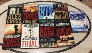 9 James Patterson hard bound books for Sale in Houston, TX