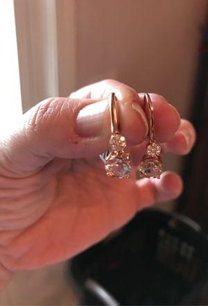 18k genuine morganite diamond earrings for Sale in Milford, MA