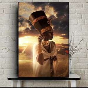 Black and Gold Nude African Art Woman Sunset Oil Painting on Canvas Cuadros Posters and Prints Wall Art Picture for Living Room 35 height 23 for Sale in San Jose, CA