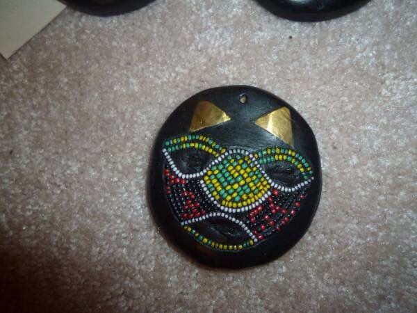4 African Mask Ornaments
