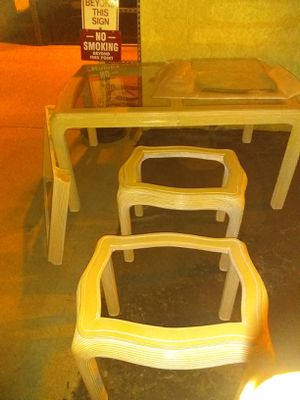 Six piece with leaf,six scratchguard chairs, cream like in color , beautiful dinette set, Glass pieces to all fitting plus two end tables for Sale in Glendale, AZ