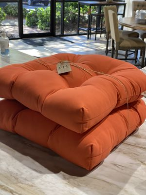 "TWO Sunbrella brand indoor/outdoor seat cushions in orange. 19"" x 19"" x 5"" retails $82. Asking $40 + tax for Sale in Woodstock, GA"