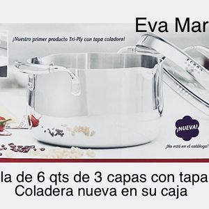 Princess House 🌺 Olla De 6 Qts De 3 Capas Con Tapa Coladera Nueva En Su Caja 🌺🌺🌺 for Sale in San Bernardino, CA