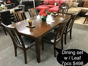 Big solid dining table set with butterfly leaf for Sale in Fresno, CA