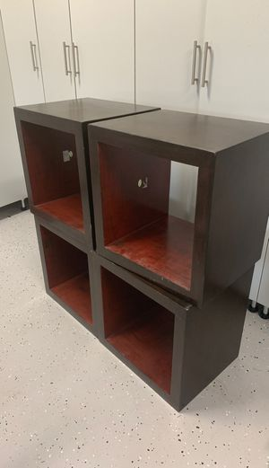 Dark wood furniture storage squares/shelves for Sale in Orlando, FL