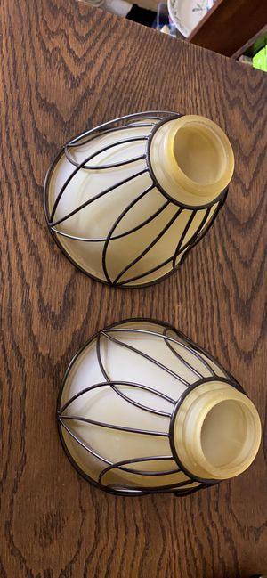 2 Glass and wire lamp shades for Sale in Dallas, TX