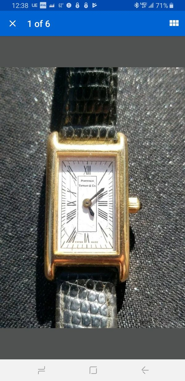 TIFFANY & CO. PORTFOLIO gold electroplate Ladies Watch T&Co. Black Leather Band