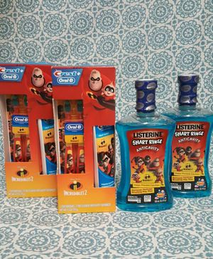 Incredibles Crest for kids includes 2 packs toothpaste and toothbrush and 2 listerine for Sale in Orlando, FL