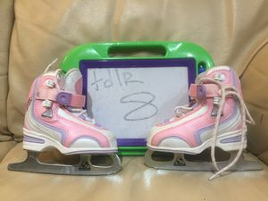 Used once, SOFTEC velcro figure skates, sharpened, BEST ICE SKATES EVER!!! for Sale in Wheeling, IL