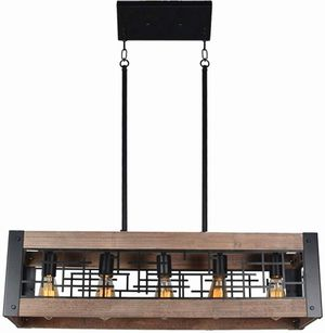 Baiwaiz Industrial Farmhouse Dining Light Fixture, Metal and Wood Kitchen Island Lighting Rustic Rectangle for Sale in Ontario, CA