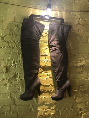 Thigh high gray heeled boots 9 for Sale in Baltimore, MD