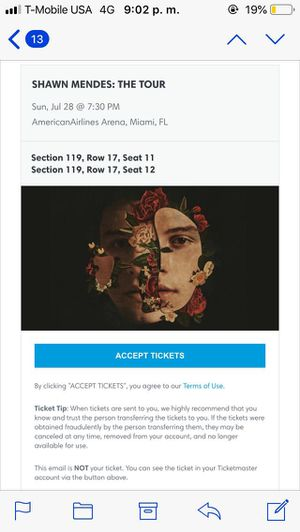 Shawn Mendes Tour Tickets for Sale in Coral Gables, FL
