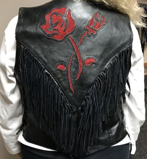 Women's fringe motorcycle leather vest for Sale in Wheaton, IL