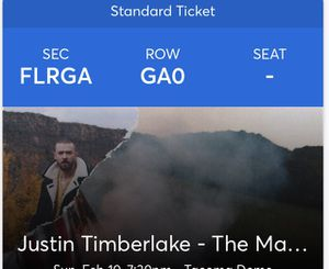 Two GA floor tickets for Justin Timberlake Sunday for Sale in Duvall, WA