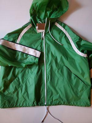 Burberry Stripe Detail Showerproof Hooded Jacket in Bright Pigment Green for Sale in Seattle, WA