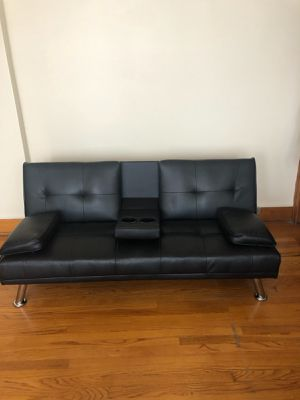 Black Leather Futon Couches for Sale in Chicago, IL
