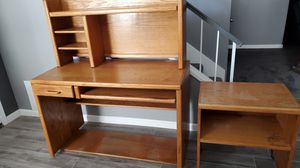 Oak desk, hutch & printer stand for Sale in Chino, CA