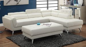 FREE DELIVERY - New Ivy white leather sectional sofa couch for Sale in Fullerton, CA
