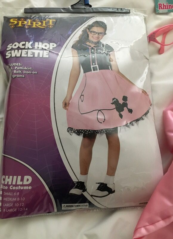 Costume Child Xlarge Sock Hop Sweetie with Rhinestone Glasses and Pink Sweeties Jacket