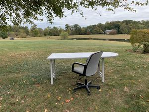 Gray and white office wall desk With roller chair in excellent condition for Sale in Purcellville, VA