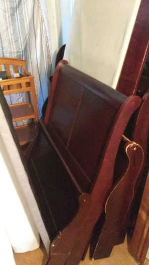 Nice twin size sleigh bed. Headboard, footboard rails and slats with bunkieboard. for Sale in High Point, NC