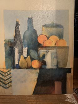 Acrilic Still Life painting, Fruits and Wine scene. Perfect Kitchen & Great Room Decor. 31in Width By 39in Height $65 or best offer for Sale in Teaneck,  NJ
