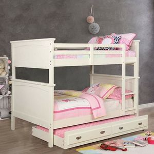 WHITE FINISH FULL OVER FULL SIZE BUNK BED + TRUNDLE for Sale in San Diego, CA