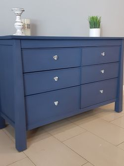 Beautiful wooden retro dresser, in a blue color, working well good condition, crystal handles, distress paint, unique design, elegant, good size, 51 for Sale in Bell Canyon,  CA