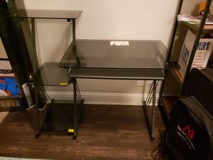 Small black glass and metal desk- PICKUP ONLY for Sale in Dallas, TX