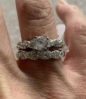 New 2 piece CZ 1.75 silver wedding ring size 7 for Sale in Palatine, IL