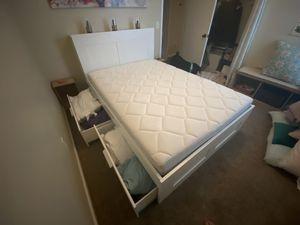 IKEA hemnes full size storage bed and storage headboard plus sultan hallen mattress for Sale in Gilbert, AZ