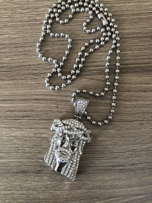 Jesus Chain&Charm silver for Sale in Perris, CA