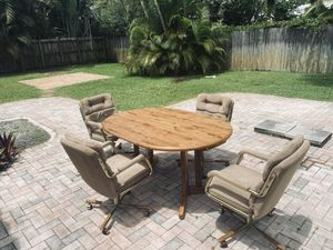 Made in the USA original wood and brass antique collectible dining room table chair and sat chair swivel rock roll and recline for Sale in Fort Lauderdale, FL