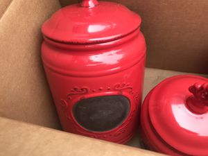 3 rustic kitchen canisters with chalk for Sale in Memphis, TN