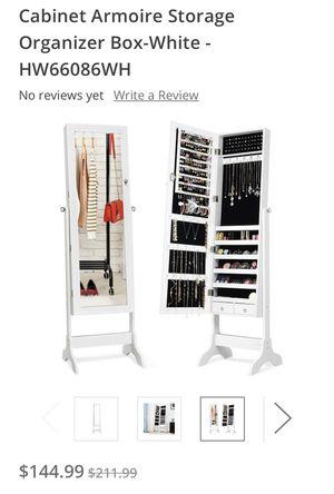 Lockable Mirrored Jewelry Cabinet Armoire Storage Organizer Box-White - for Sale in Bakersfield, CA