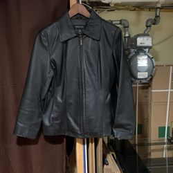 New York and company medium black leather coat for Sale in Camden,  NJ