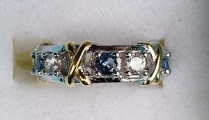 White gold plated blue topaz band for Sale in Baltimore, MD