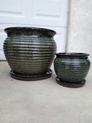 "New Planting Pot ""Lanal Round Falling Green 16in. & 9in."" $50$ 😷 for Sale in San Bernardino, CA"