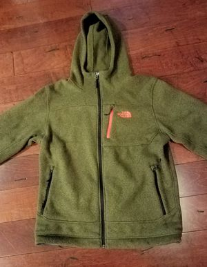 North Face fleece hoodie jacket Large green for Sale in Laurel, MD